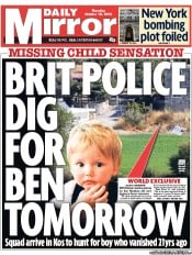 Daily Mirror Newspaper Front Page (UK) for 18 October 2012