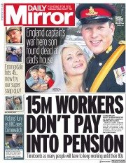 Daily Mirror (UK) Newspaper Front Page for 18 October 2017