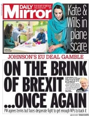 Daily Mirror (UK) Newspaper Front Page for 18 October 2019