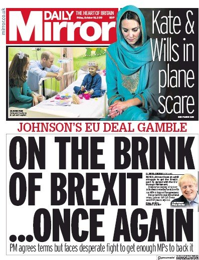 Daily Mirror Newspaper Front Page (UK) for 18 October 2019