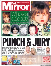 Daily Mirror (UK) Newspaper Front Page for 18 November 2017