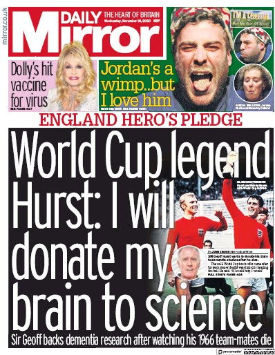 Daily Mirror Newspaper Front Page (UK) for 18 November 2020