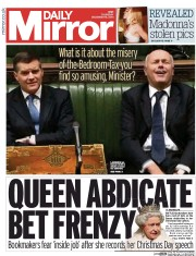 Daily Mirror (UK) Newspaper Front Page for 18 December 2014
