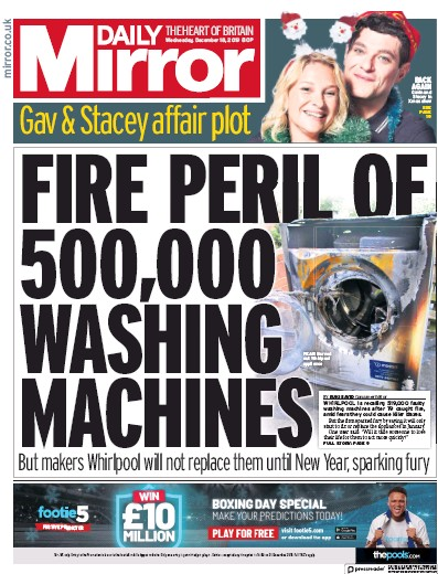 Daily Mirror Newspaper Front Page (UK) for 18 December 2019