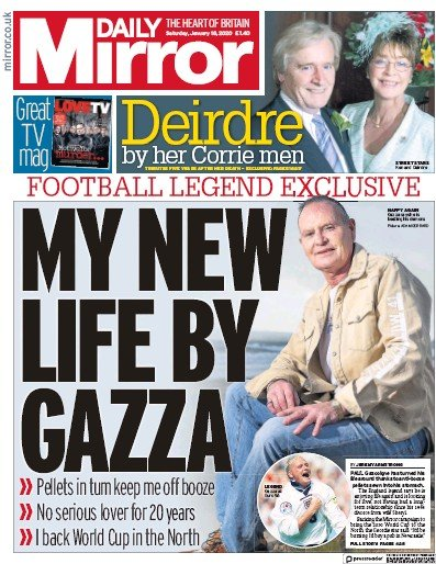 Daily Mirror Newspaper Front Page (UK) for 18 January 2020