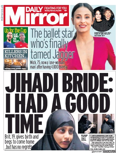 Daily Mirror Newspaper Front Page (UK) for 18 February 2019