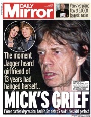 Daily Mirror (UK) Newspaper Front Page for 18 March 2014