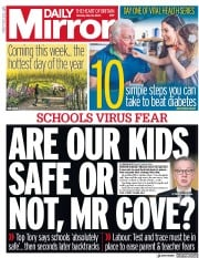 Daily Mirror front page for 18 May 2020
