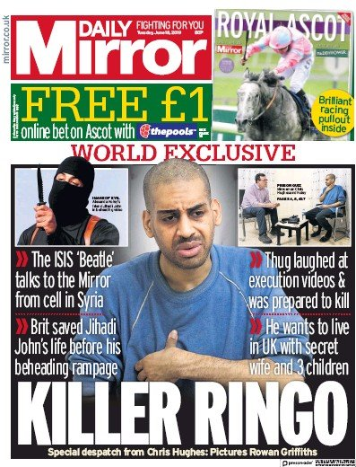 Daily Mirror Newspaper Front Page (UK) for 18 June 2019
