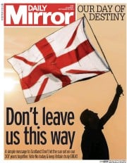 Daily Mirror (UK) Newspaper Front Page for 18 September 2014