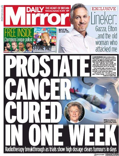 Daily Mirror Newspaper Front Page (UK) for 18 September 2019