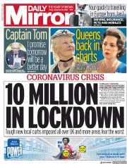 Daily Mirror front page for 18 September 2020