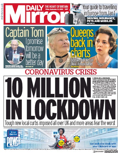 Daily Mirror Newspaper Front Page (UK) for 18 September 2020