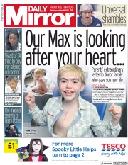 Daily Mirror (UK) Newspaper Front Page for 19 October 2017
