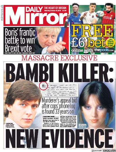 Daily Mirror Newspaper Front Page (UK) for 19 October 2019