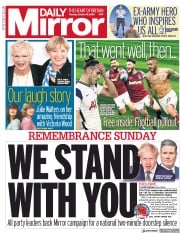 Daily Mirror front page for 19 October 2020