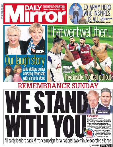 Daily Mirror Newspaper Front Page (UK) for 19 October 2020