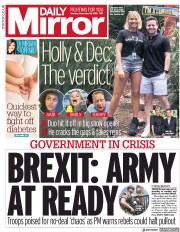 Daily Mirror (UK) Newspaper Front Page for 19 November 2018