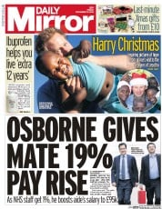 Daily Mirror (UK) Newspaper Front Page for 19 December 2014