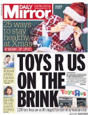 Daily Mirror (UK) Newspaper Front Page for 19 December 2017