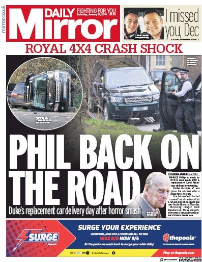Daily Mirror Newspaper Front Page (UK) for 19 January 2019