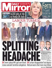 Daily Mirror () Newspaper Front Page for 19 February 2019