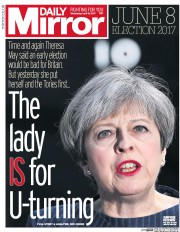 Daily Mirror (UK) Newspaper Front Page for 19 April 2017
