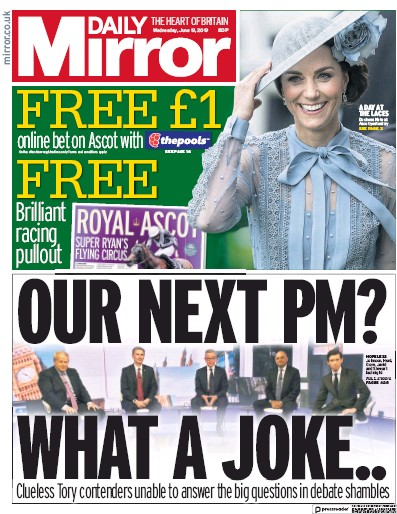 Daily Mirror Newspaper Front Page (UK) for 19 June 2019