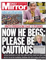 Daily Mirror () Newspaper Front Page for 19 July 2021