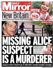 Daily Mirror (UK) Newspaper Front Page for 19 September 2014