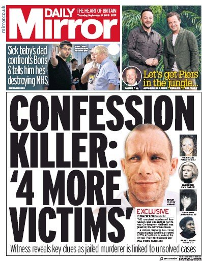 Daily Mirror Newspaper Front Page (UK) for 19 September 2019