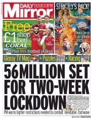 Daily Mirror front page for 19 September 2020