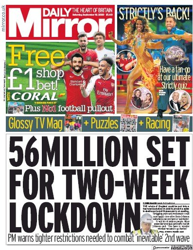 Daily Mirror Newspaper Front Page (UK) for 19 September 2020