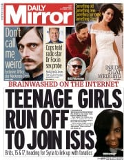 Daily Mirror (UK) Newspaper Front Page for 1 October 2014