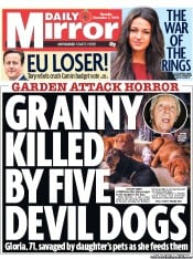 Daily Mirror Newspaper Front Page (UK) for 1 November 2012
