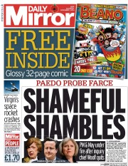 Daily Mirror (UK) Newspaper Front Page for 1 November 2014