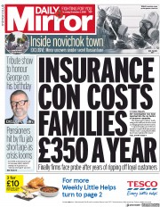 Daily Mirror () Newspaper Front Page for 1 November 2018