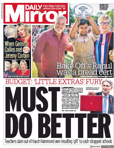 Daily Mirror Newspaper Front Page (UK) for 1 November 2018