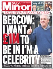 Daily Mirror (UK) Newspaper Front Page for 1 November 2019