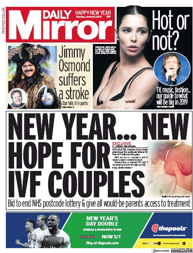 Daily Mirror Newspaper Front Page (UK) for 1 January 2019