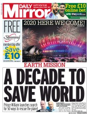 Daily Mirror (UK) Newspaper Front Page for 1 January 2020