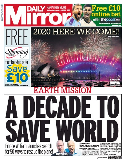 Daily Mirror Newspaper Front Page (UK) for 1 January 2020