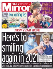 Daily Mirror front page for 1 January 2021