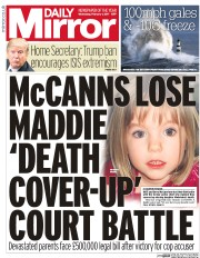 Daily Mirror (UK) Newspaper Front Page for 1 February 2017