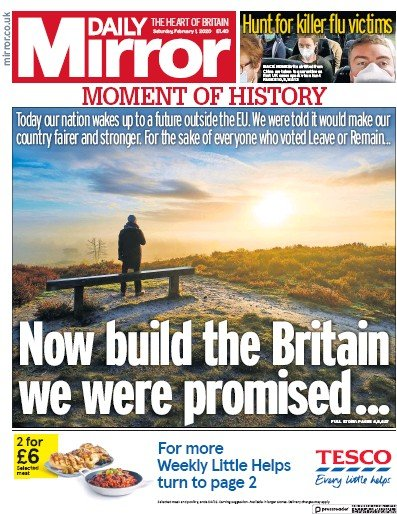 Daily Mirror Newspaper Front Page (UK) for 1 February 2020