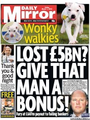 Daily Mirror () Newspaper Front Page for 1 March 2013