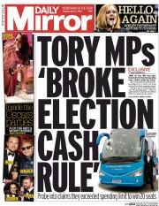 Daily Mirror (UK) Newspaper Front Page for 1 March 2016