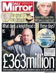 Daily Mirror (UK) Newspaper Front Page for 1 March 2017
