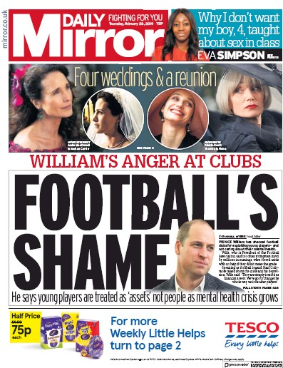 Daily Mirror Newspaper Front Page (UK) for 1 March 2019