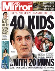 Daily Mirror (UK) Newspaper Front Page for 1 April 2015